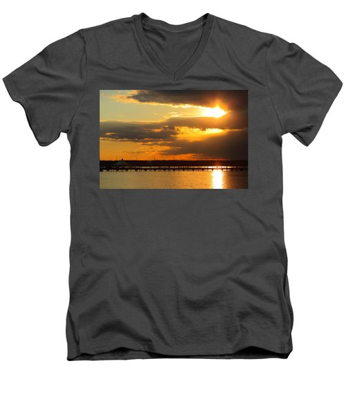Sunset At National Harbor Men's V-Neck T-Shirt