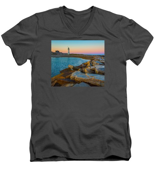 Sunset At Old Scituate Lighthouse Men's V-Neck T-Shirt by Brian MacLean