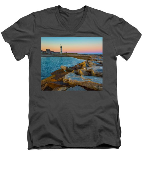 Sunset At Old Scituate Lighthouse Men's V-Neck T-Shirt