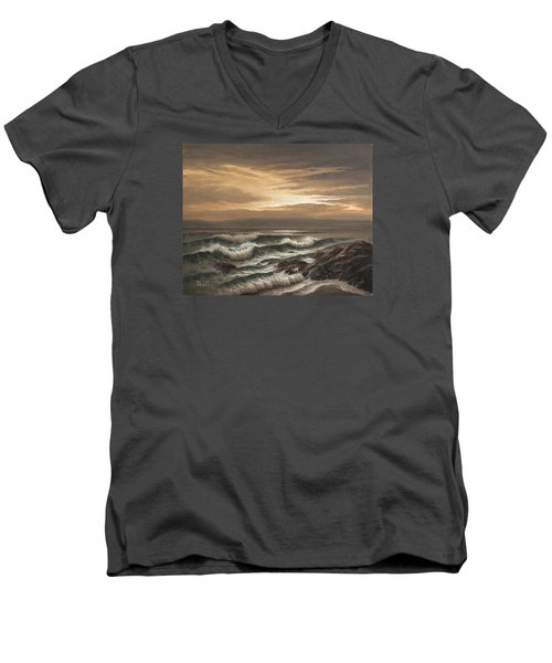 Sunset At Pacific Grove Men's V-Neck T-Shirt