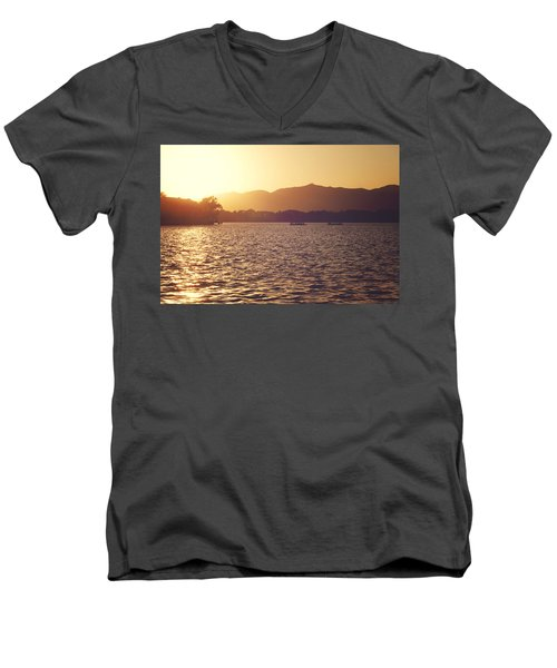 Men's V-Neck T-Shirt featuring the photograph Sunset At Summer Palace by Yew Kwang