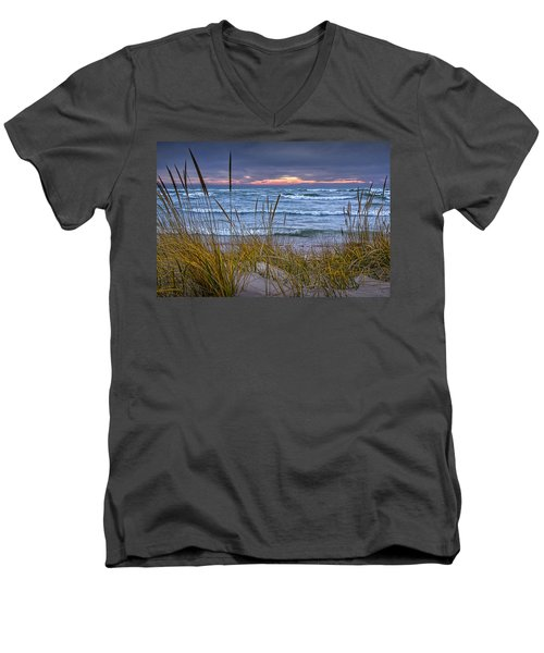 Sunset On The Beach At Lake Michigan With Dune Grass Men's V-Neck T-Shirt by Randall Nyhof