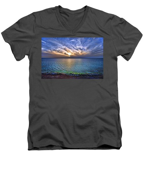Sunset At The Cliff Beach Men's V-Neck T-Shirt by Ron Shoshani