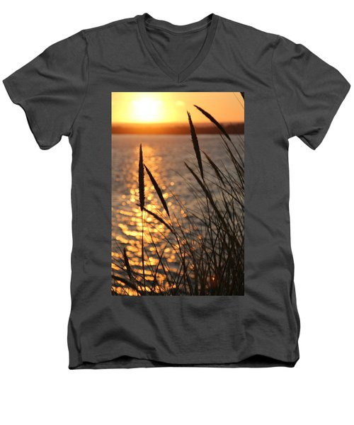 Men's V-Neck T-Shirt featuring the photograph Sunset Beach by Athena Mckinzie