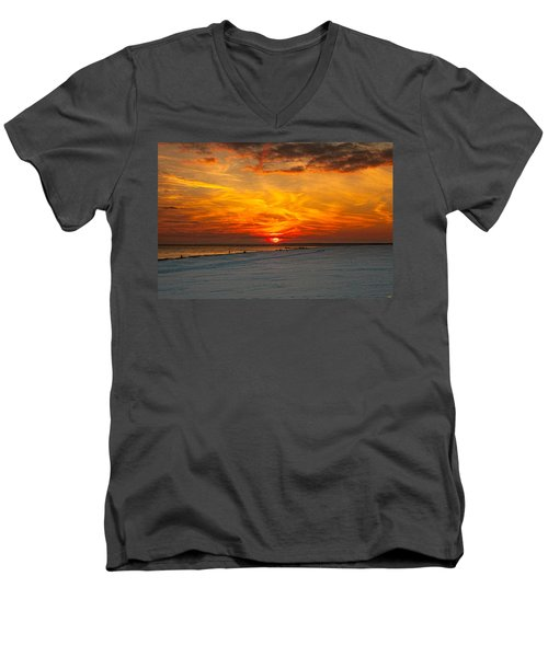 Men's V-Neck T-Shirt featuring the photograph Sunset Beach New York by Chris Lord