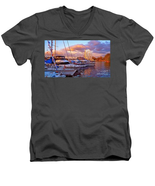 Sunset Before The Show Men's V-Neck T-Shirt by Gem S Visionary