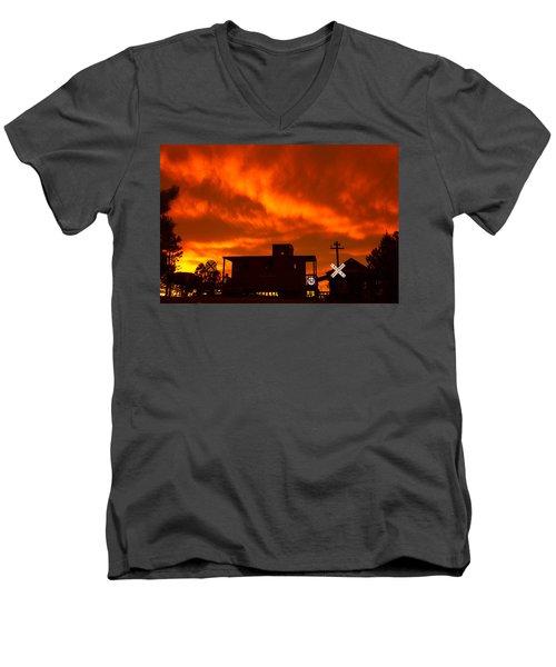 Sunset Caboose Men's V-Neck T-Shirt
