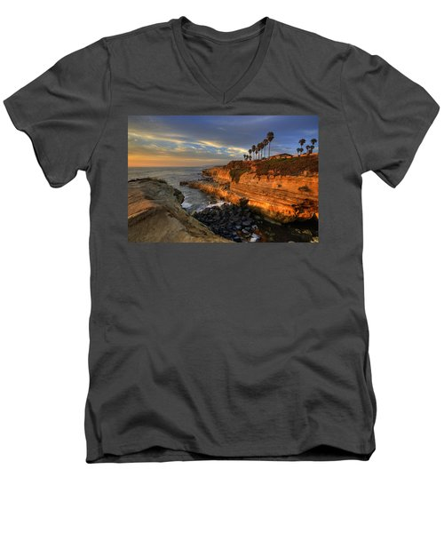 Sunset Cliffs Men's V-Neck T-Shirt by Peter Tellone