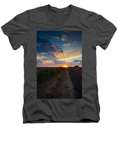 Sunset Down A Country Road Men's V-Neck T-Shirt by Mark Alder