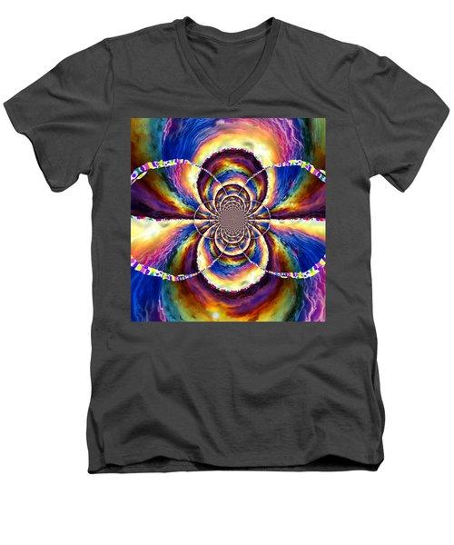 Sunset Fractal Men's V-Neck T-Shirt