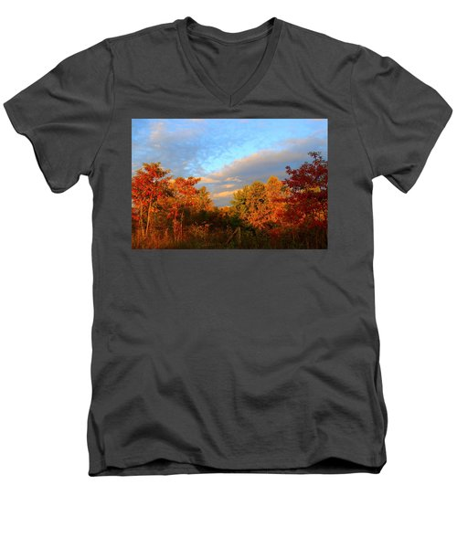 Men's V-Neck T-Shirt featuring the photograph Sunset Glow by Kathryn Meyer