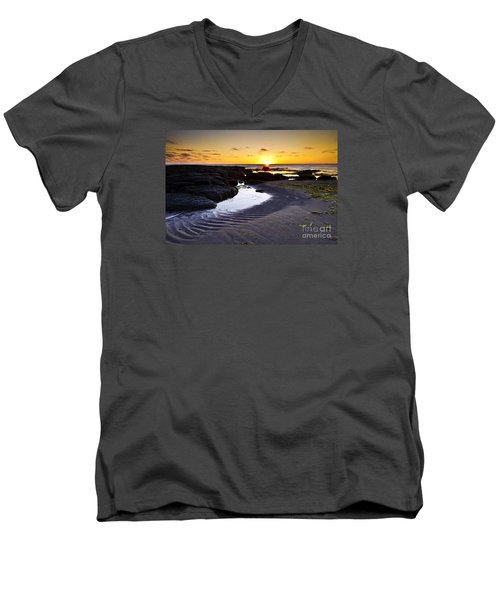 Men's V-Neck T-Shirt featuring the photograph Sunset In Iceland by Gunnar Orn Arnason