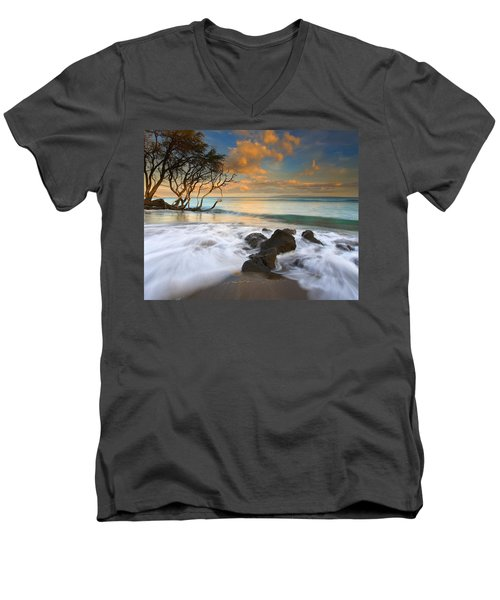 Sunset In Paradise Men's V-Neck T-Shirt by Mike  Dawson