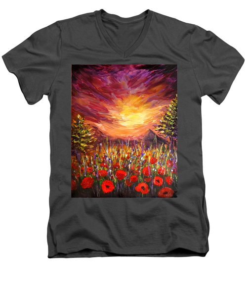 Sunset In Poppy Valley  Men's V-Neck T-Shirt