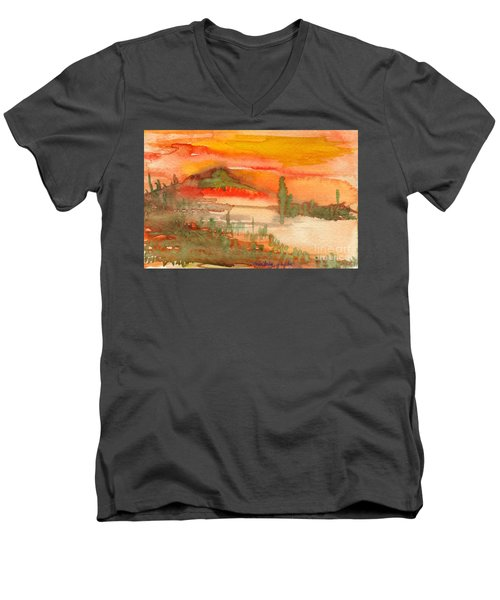 Men's V-Neck T-Shirt featuring the painting Sunset In Saguaro Desert  by Mukta Gupta