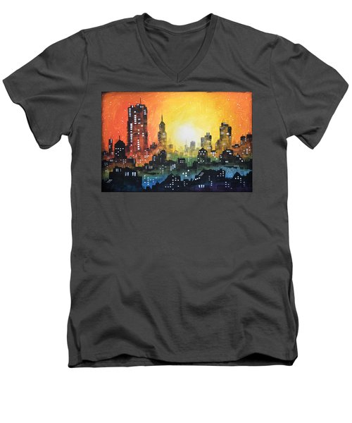 Men's V-Neck T-Shirt featuring the painting Sunset In The City by Amy Giacomelli