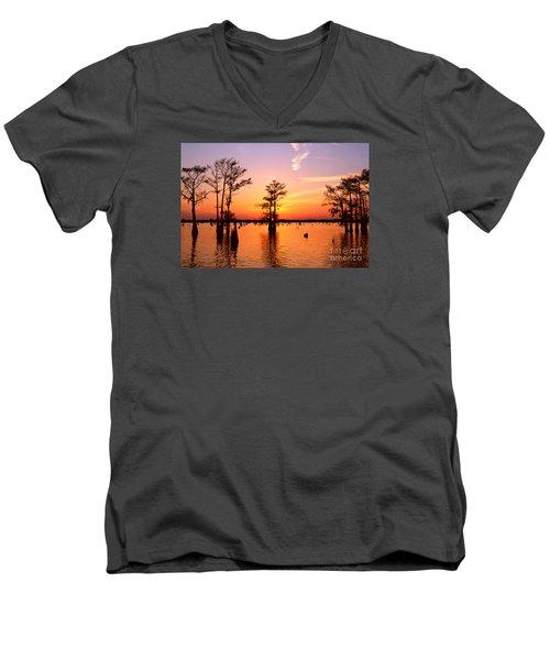 Sunset Lake In Louisiana Men's V-Neck T-Shirt