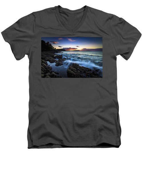 Men's V-Neck T-Shirt featuring the photograph Sunset On Ber Beach Galicia Spain by Pablo Avanzini