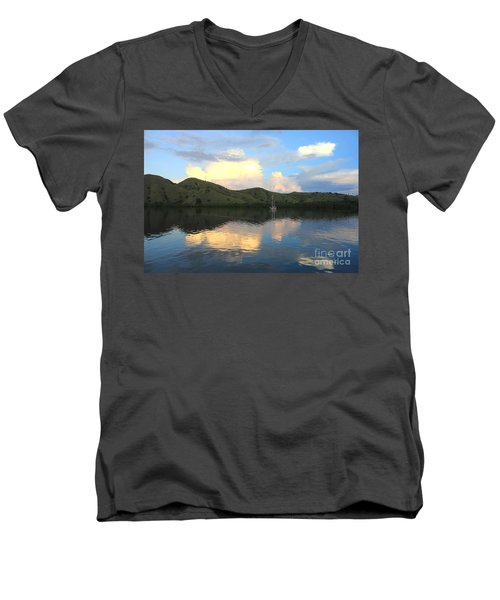Men's V-Neck T-Shirt featuring the photograph Sunset On Komodo by Sergey Lukashin