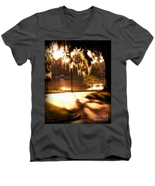 Men's V-Neck T-Shirt featuring the digital art Sunset On Lake Mizell by Valerie Reeves