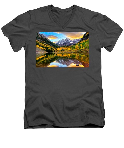 Sunset On Maroon Bells Men's V-Neck T-Shirt