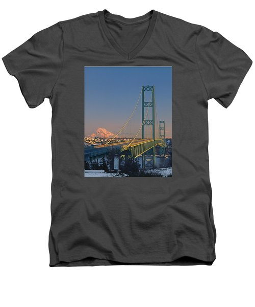 1a4y20-v-sunset On Rainier With The Tacoma Narrows Bridge Men's V-Neck T-Shirt