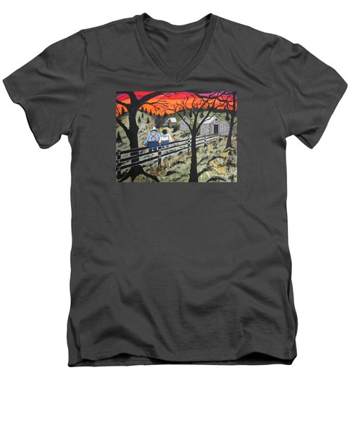Men's V-Neck T-Shirt featuring the painting Sunset On The Fence by Jeffrey Koss