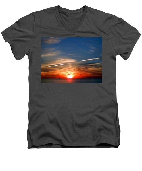 Sunset On The Gulf Of Mexico Men's V-Neck T-Shirt by Debra Martz
