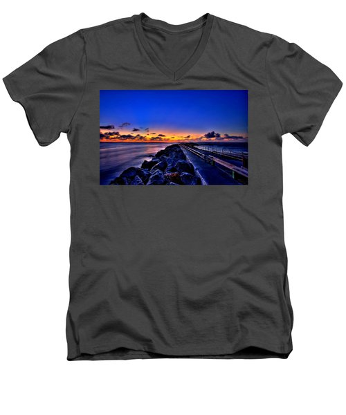 Men's V-Neck T-Shirt featuring the painting Sunrise On The Pier by Bruce Nutting