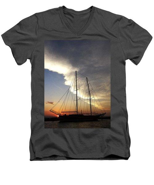 Sunset On The Turkish Gulet Men's V-Neck T-Shirt