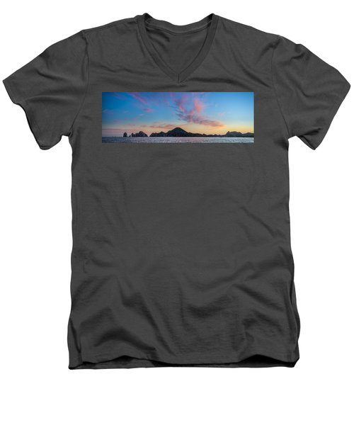 Men's V-Neck T-Shirt featuring the photograph Sunset Over Cabo by Sebastian Musial