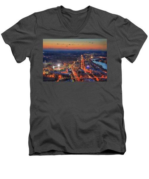 Sunset Over Fenway Park And The Citgo Sign Men's V-Neck T-Shirt