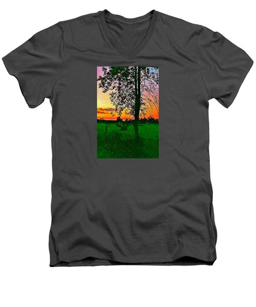 Men's V-Neck T-Shirt featuring the photograph Sunset Over M-33 by Daniel Thompson