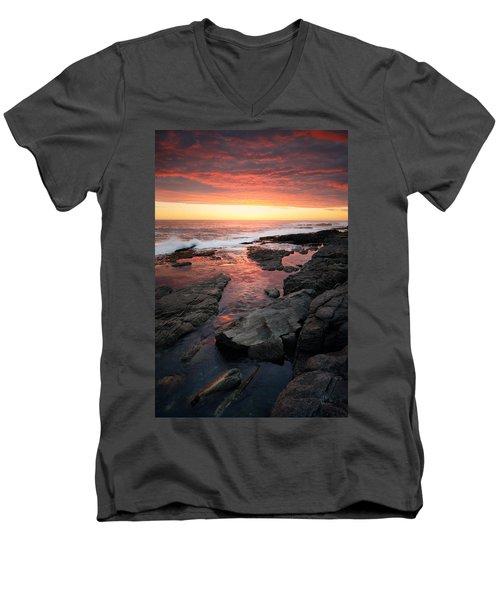 Sunset Over Rocky Coastline Men's V-Neck T-Shirt