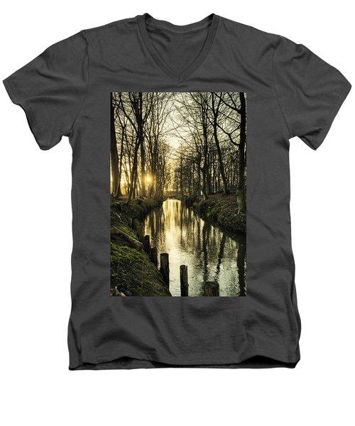 Sunset Over Stream Men's V-Neck T-Shirt