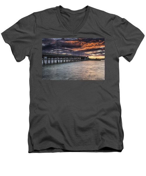 Sunset Over The Drawbridge Men's V-Neck T-Shirt