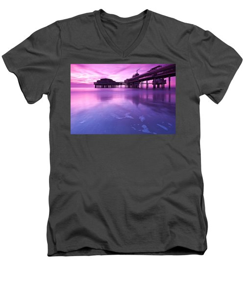 Men's V-Neck T-Shirt featuring the photograph Sunset Over The Pier by Mihai Andritoiu