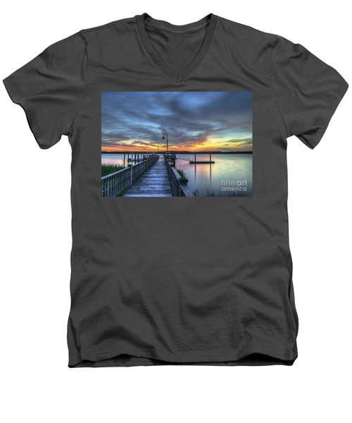 Sunset Over The River Men's V-Neck T-Shirt