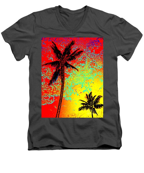 Men's V-Neck T-Shirt featuring the photograph Sunset Palms by David Lawson