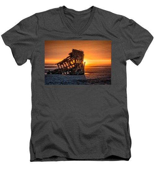 Sunset Peter Iredale Men's V-Neck T-Shirt by James Hammond