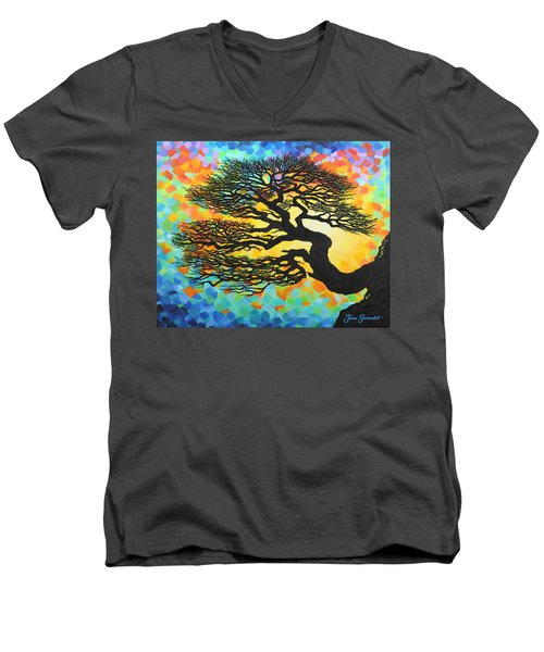 Men's V-Neck T-Shirt featuring the painting Sunset Pine by Jane Girardot