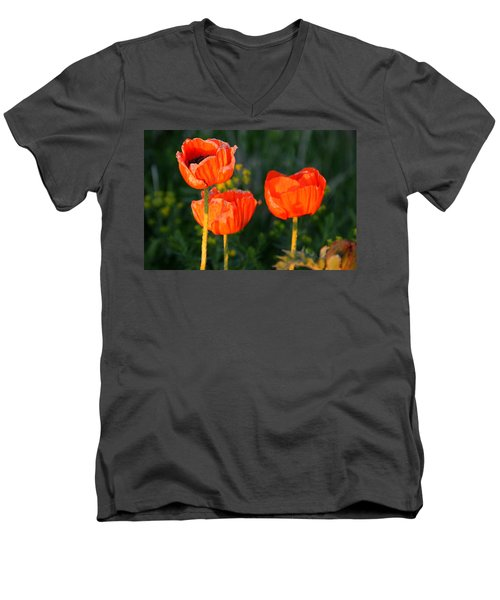 Men's V-Neck T-Shirt featuring the photograph Sunset Poppies by Debbie Oppermann