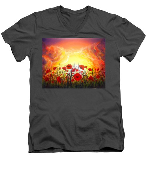 Men's V-Neck T-Shirt featuring the painting Sunset Poppies by Lilia D