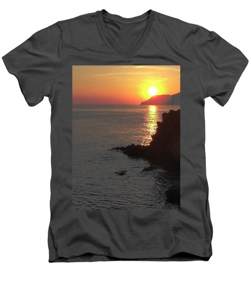 Men's V-Neck T-Shirt featuring the photograph Sunset Reflection by Natalie Ortiz