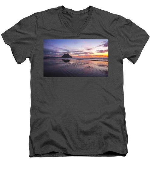 Sunset Reflections At Morro Bay Beach Rock Fine Art Photography Print Men's V-Neck T-Shirt by Jerry Cowart