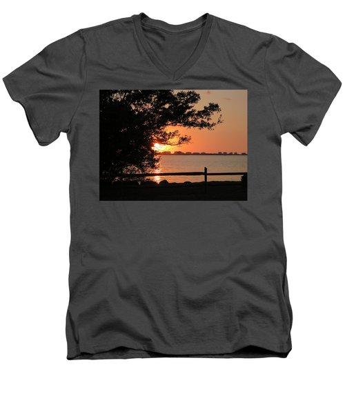 Sunset On Sarasota Harbor Men's V-Neck T-Shirt