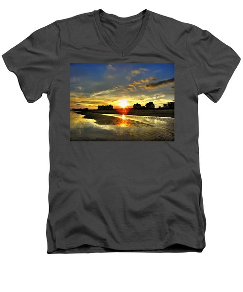 Men's V-Neck T-Shirt featuring the photograph Sunset by Savannah Gibbs