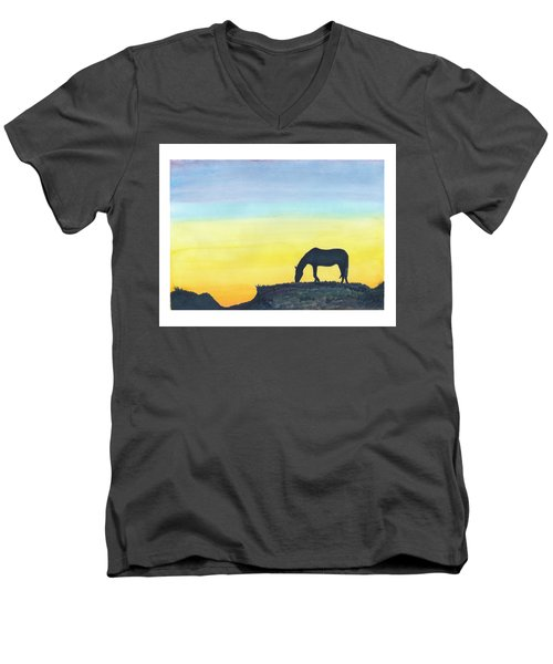 Sunset Silhouette Men's V-Neck T-Shirt by C Sitton