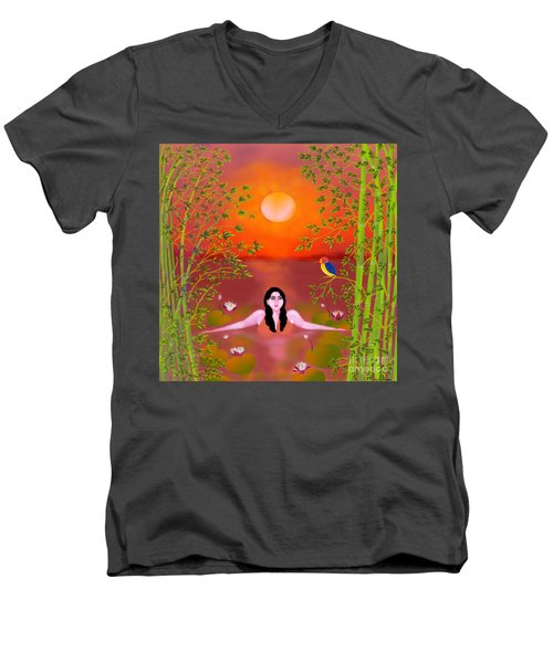 Men's V-Neck T-Shirt featuring the digital art Sunset Songs by Latha Gokuldas Panicker