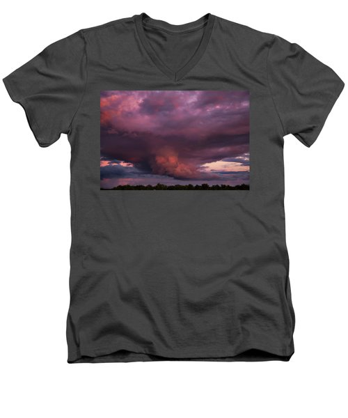Sunset Storm Men's V-Neck T-Shirt by Toni Hopper